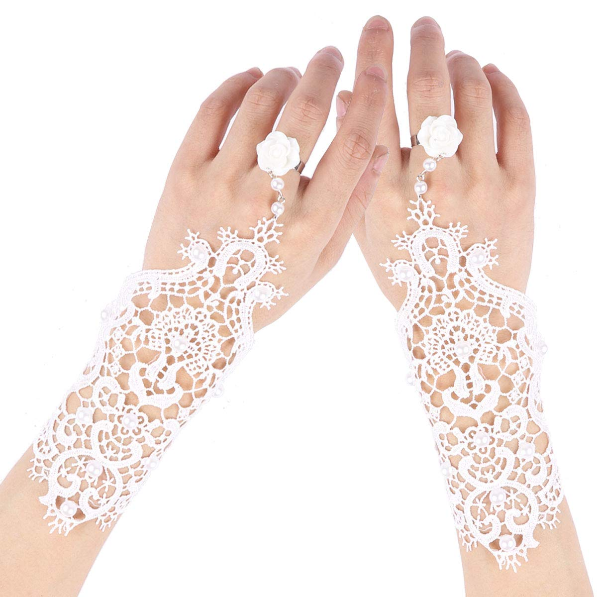 YiZYiF 1 Pair Vintage Floral Lace Gloves Women Fingerless Lace Up Bracelet Steampunk Slave Wristband Ring Halloween Wedding Party Accessories Type B One Size