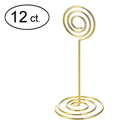 DJDZ 12ct Stainless Steel Table Number Card Holders Photo Holder Stands  Place Paper Menu Clips,