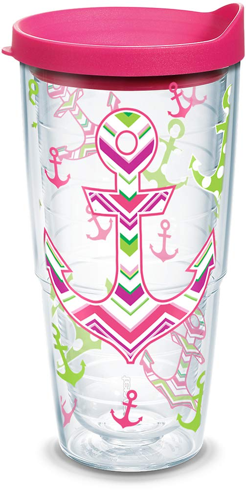 Clear Tervis 1170682 Anchors Away Tumbler with Wrap and Fuchsia Lid 24oz