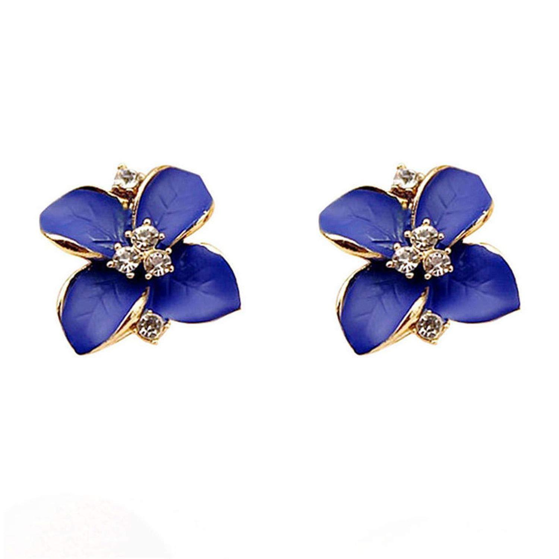 new Fashion Elegant Blue Flower Ladies Gold Rhitone Stud Earrings Pierced Earrings Brinco Women Jewelry