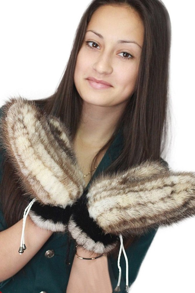 Queenshiny New Fashion Women's 100% Mink Fur Knitted Gloves-One Size-White by Queenshiny