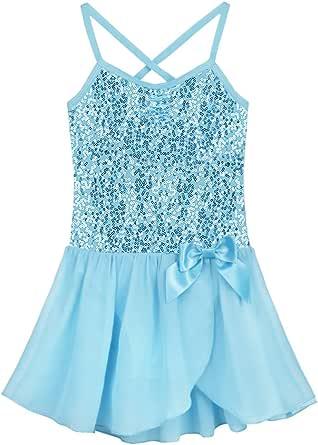 TiaoBug Girls Kids Princess Sequined Ballet Gymnastics Dance Dress Sweetheart Leotard Costume Blue Pink Lavender