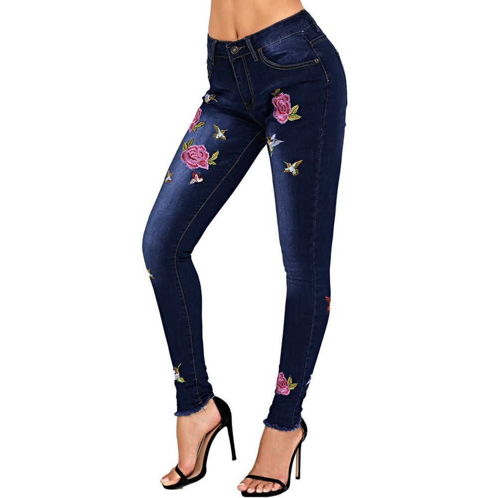 Lrud Women's Skinny Jean Leggings Ripped Distressed Jeans Flower Embroidered Jeggings Flower-Bird-XL
