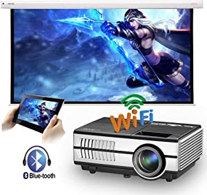Mini Bluetooth Projector, 3000 Lumen Portable LCD Video Projector for Home Theater/Game/Outdoor Movie, Compatible with HDMI/USB, Smart Phone,TV Stick,Laptop,Roku,PS4,Wii,X-box, Full HD 1080P Supported