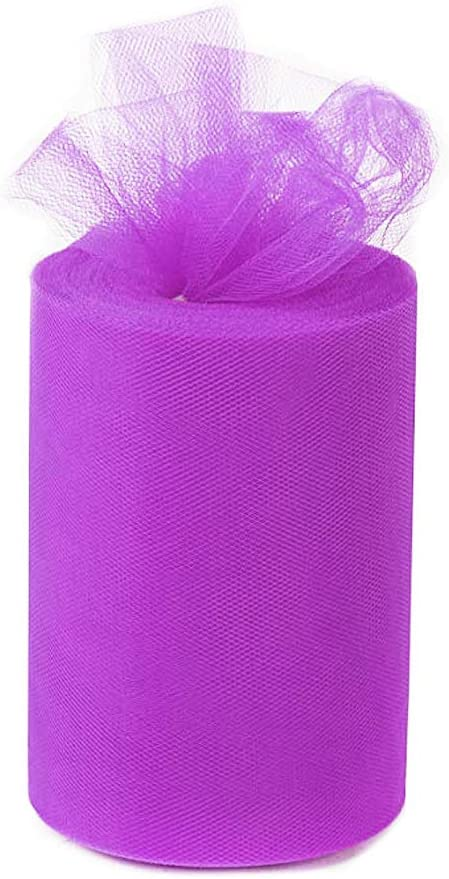 ANMINY 6 Inches x 100 Yards (300ft) Tulle Roll Spool Fabric Tutu for DIY Skirts Wedding Gift Wrap Sewing Crafting Bow Bridal Decorations Birthday Party - Purple