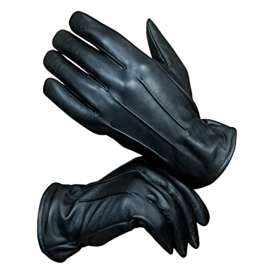 11ba92104 Hand Fellow Men s Fashion Driving Black Gloves Genuine Leather Gloves -  Wool Cashmere Lining FLeece Touch Screen Compatible Outdoor Leather Driving  Gloves ...