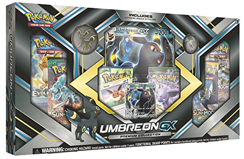 Pokemon TCG: Sun & Moon Guardians Rising Umbreon-GX Premium Collection | Collectible Trading Card Set | 3 Foil Promo Cards Featuring Umbreon-GX, Espeon-GX and Eevee | 6 Booster Packs, Umbreon Coin ()