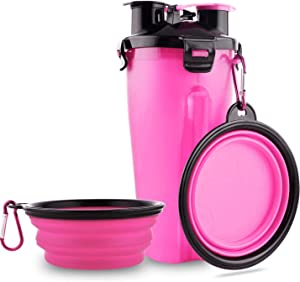 Paw Crazed Sustainable Dog Travel Water Bottle, 2 in 1 Portable Dog Water Dispenser and Food Container with 2 Collapsible Bowls for Your Pets Outdoor Traveling, Hiking, Camping, and Walking