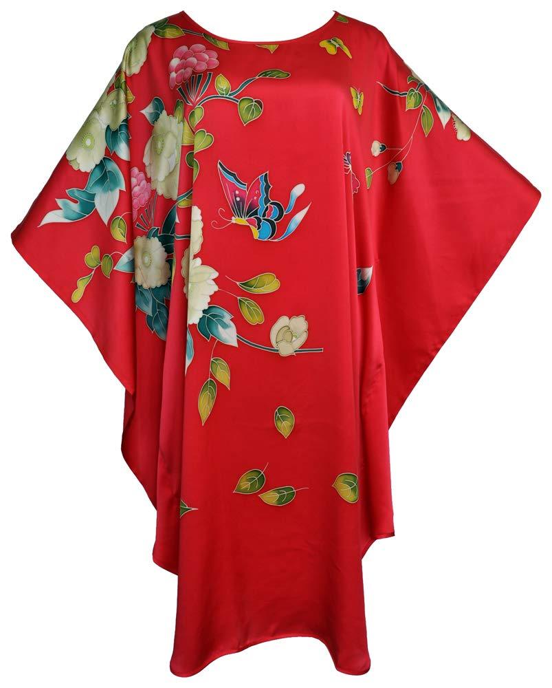 Amazing Grace Elephant Co. Chinese Style Modern Qipao Cheongsam Dress Hand Painted Silk MuMu Assorted Design (Butterfly Red)
