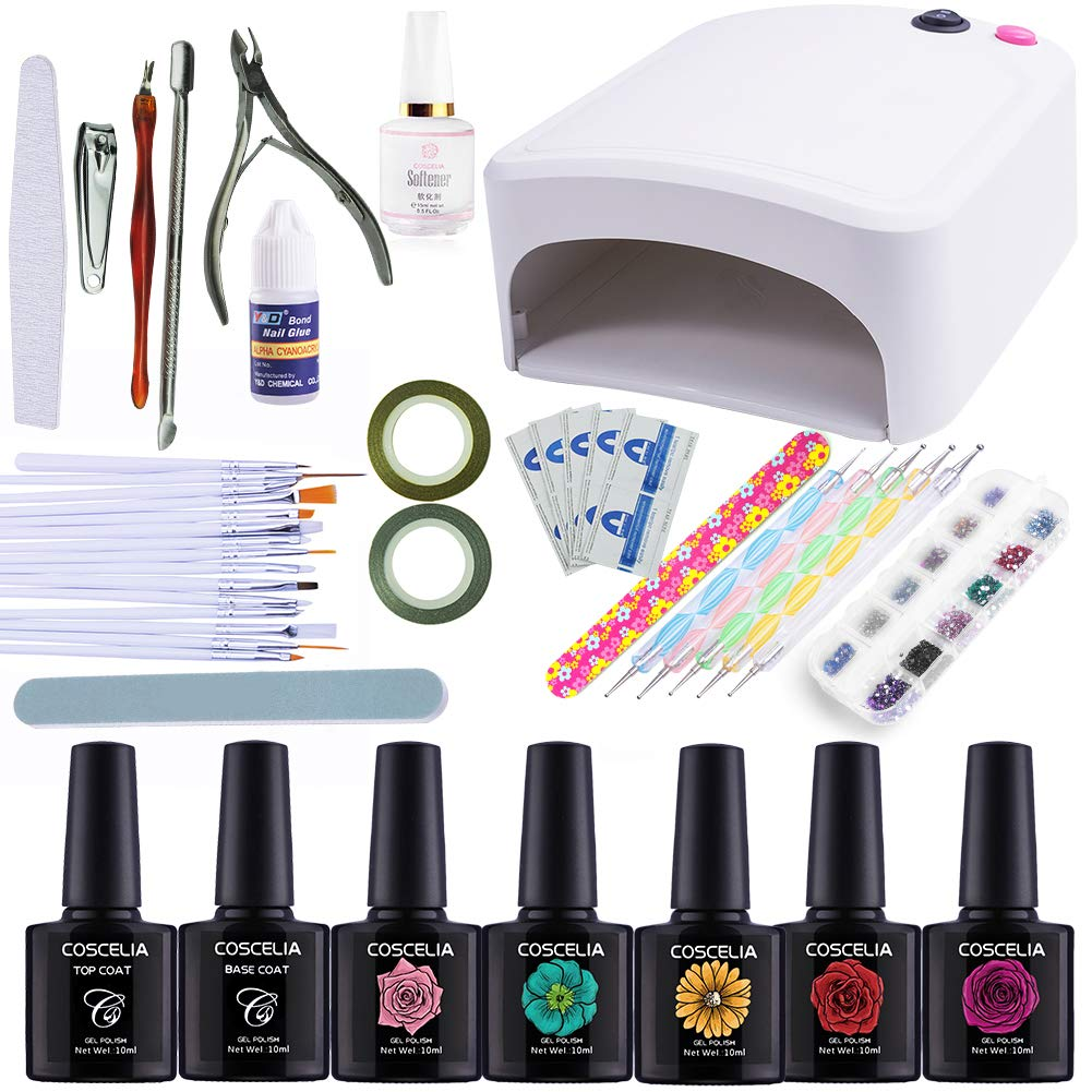 Coscelia 8pcs Gel Nail Polish Set with Pink 36W UV Nail Dryer Top and Base Coat Basic Nail Tools Starter Kits