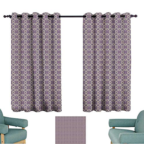 Warm Family Geometric Insulated Sunshade Curtain Abstract Lines with Curvy Oval Shapes Traditional Chain Motifs Retro Style 70%-80% Light Shading, 2 Panels,72