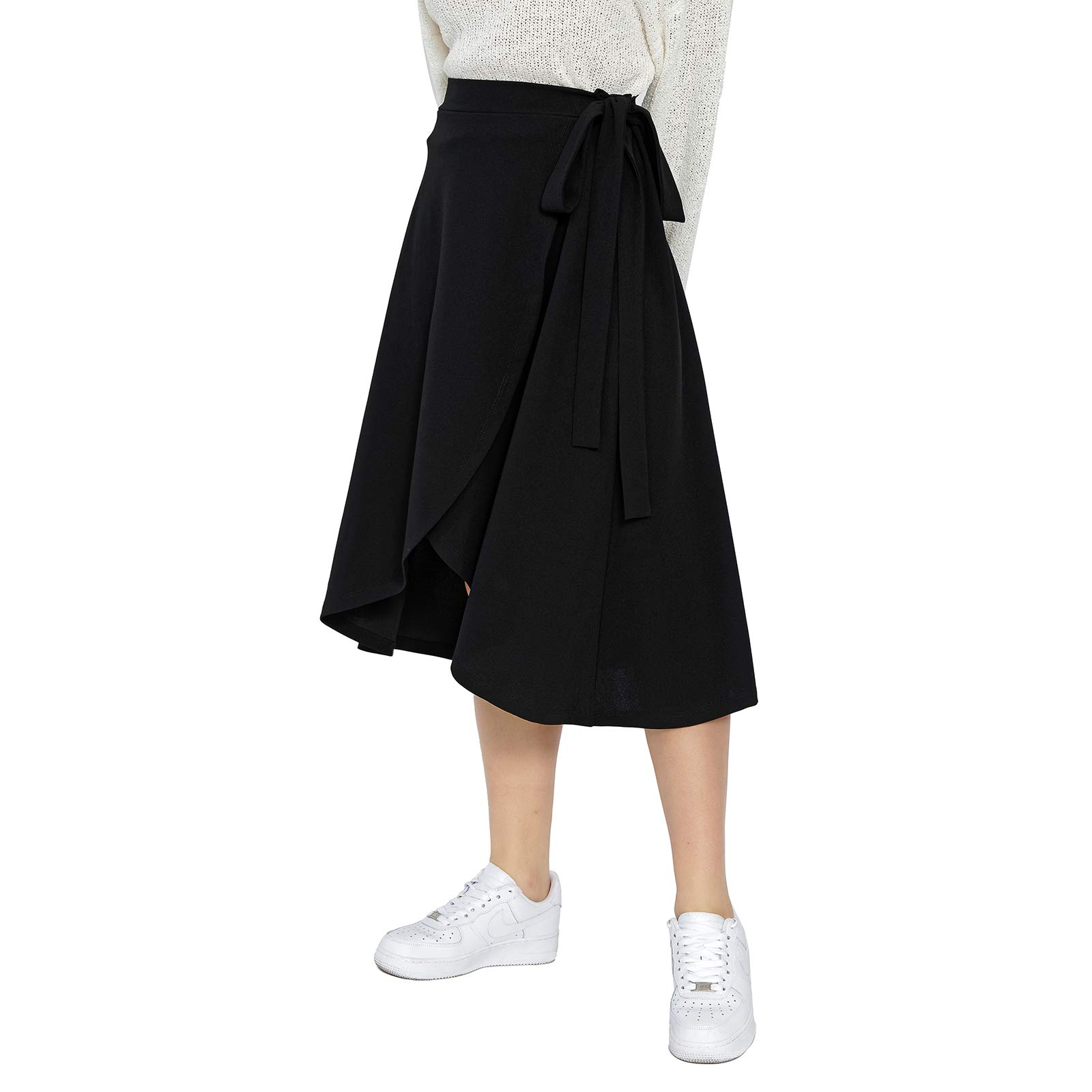 CCIMAGE Faux Wrap Midi Skirt Casual Tie Knot Swing Skirt for Women