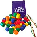 3 Bees & Me Toddler Learning Toys - 50 Jumbo Lacing Beads for Toddlers and Kids - Educational Color Sorting & Shape Activities - Fine Motor Skills Toy