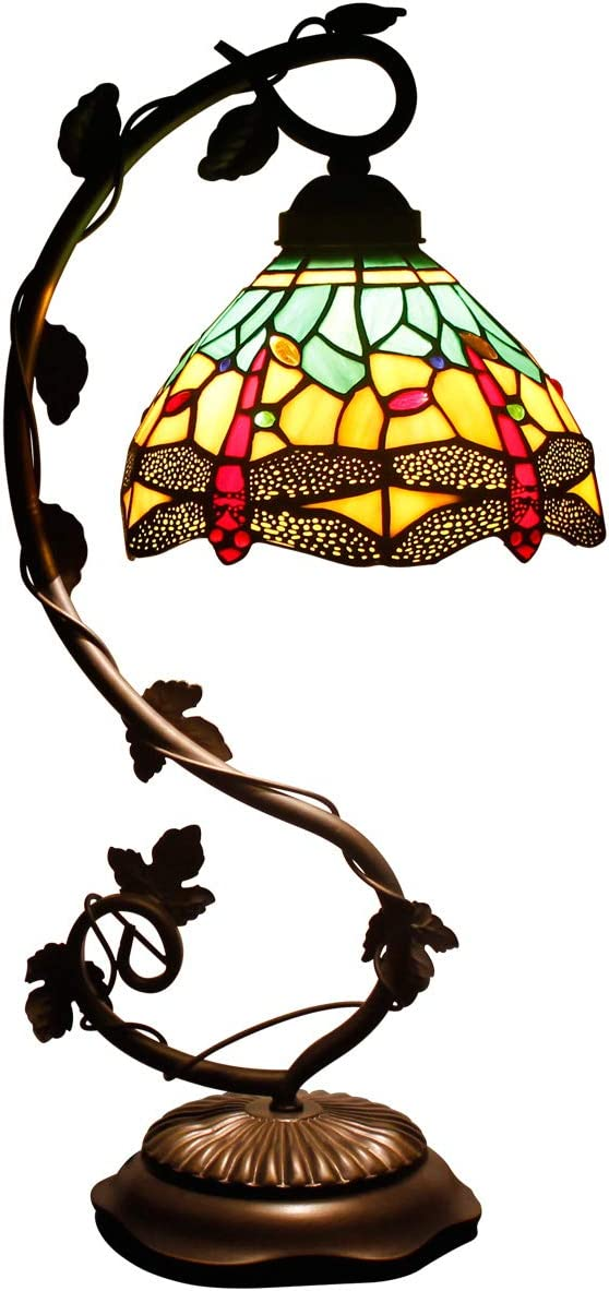 Tiffany Desk Lamp Green Yellow Stained Glass Coffee Table Reading Banker Night Light Crystal Bead Dragonfly Style Shade W8H22 Inch for Living Room Bedroom S009G WERFACTORY Green