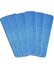Mop Heads Replacements, 6 Pack 18''x 6'' Reusable Microfiber Spray Mop Replacement Heads, Compatible with Bona Floor Care System Wet/Dry Home & Commercial Cleaning Scrubbing Floor Mop Pad- Blue