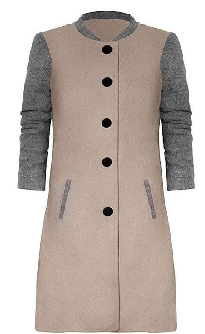 Jaycargogo Womens Single-Breasted Slim Fit Contrast Color Woolen Coat Overcoat