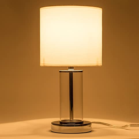 Donglaimei fabric shade table lamp with glass cylinder and metal donglaimei fabric shade table lamp with glass cylinder and metal base simple style night stand mozeypictures Choice Image