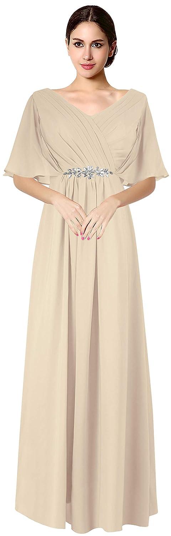 Champagne VaniaDress Women V Neck Half Sleeveles Long Evening Dress Formal Gowns V265LF