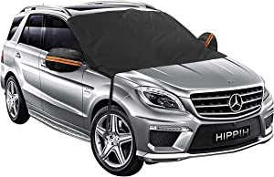 Car Windshield Snow Cover with Mirror Covers- Magnetic Frost Guard Windshield Cover Keeps Ice & Snow Off - Winter Car Cover Fits Any Car, Truck, SUV, Van or Automobile