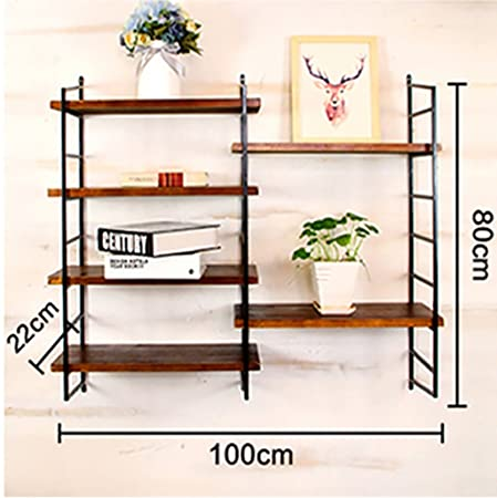 Bookshelf H Simple Racks Wrought Iron Wood Combination Storage Shelf Shelves Adjustable Height Wall