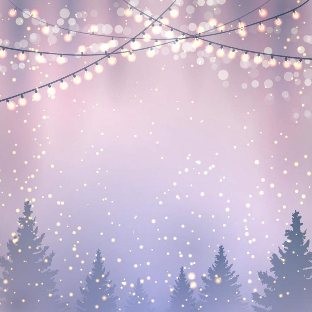 Gardenia 10x10フィート ヘイジーウィンタースノーフレーク クリスマス 写真撮影用背景幕 カスタマイズ 松の森 キラキラランプ フォトスタジオ 背景用小道具 CH0643   B07J685NK1