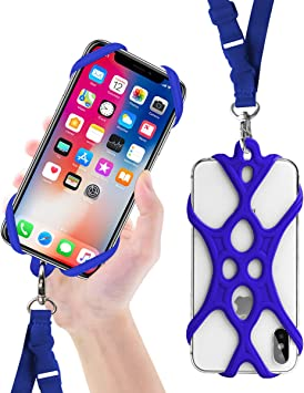 Rocontrip Funda de Silicona para Teléfono con el Cordón Manos Libres para el iPhone 6 6S 6 Plus iPhone 6S Plus, iPhone 7 y 7 Plus, Samsung, de 4.7-5.5 Pulgadas (Azul Oscuro): Amazon.es: Electrónica