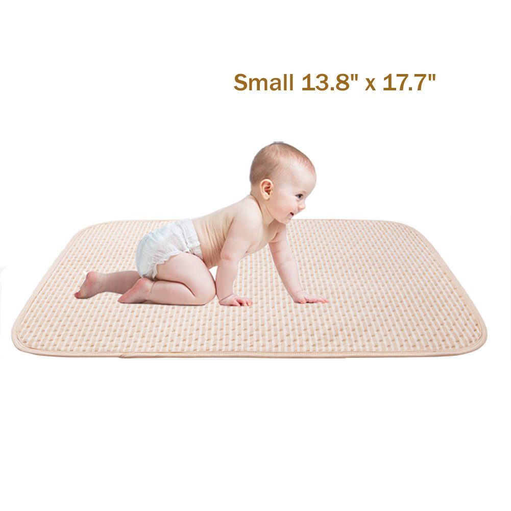 Toddler Waterproof Pads Bed Mattress Protector Organic Cotton Ultra Reusable Incontinence Sheet for Baby Children Adult Pets (Small) Setaria Viridis
