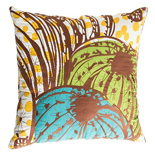 Koko Cactus 92041 Cotton Pillow, 20 by 20-Inch, Brown/Yellow/Teal/Blue ()