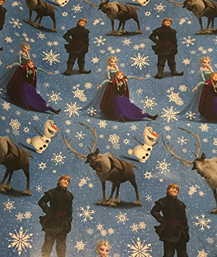 Disney Frozen Wrapping Paper - Frozen Birthday Gift Wrap - Frozen Gift Wrap - Frozen Christmas Wrapping Paper,1 Roll - 40-65sf (Blue Snowflakes - 65 sf)