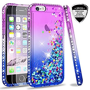 LeYi Funda iPhone 6 / 6S Silicona Purpurina Carcasa con [2-Unidades Cristal Vidrio Templado],Transparente Cristal Bumper Telefono Gel Fundas Case ...