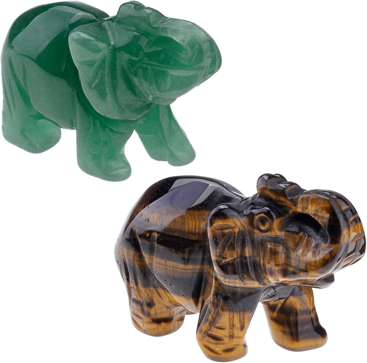 Top Plaza 2pcs Healing Crystal Stones Tiger Eye Stone & Green Aventurine Elephant Figurines Reiki Gemstone Crafts Statues Elephant Gifts Collectible Decor for Home Office Desk 1.5 inches