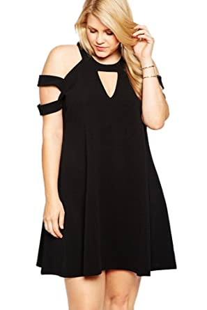 Women Dresses Plus Size Casual Black Cutouts Cold Shoulder A Line