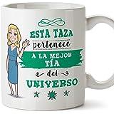 MUGFFINS Tía Tazas Originales de café y Desayuno para Regalar a Tías - Esta Taza Pertenece a la Mejor Tía del Universo - Cerámica 350 ml