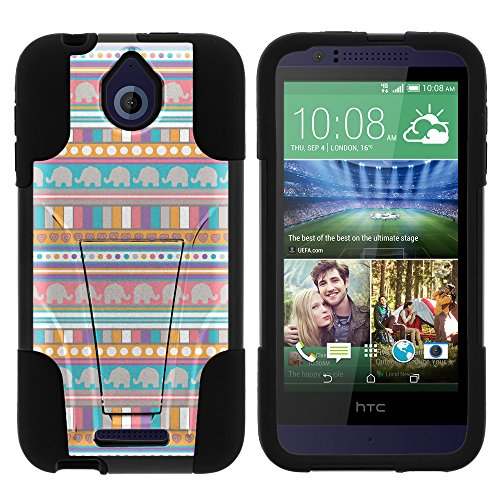 HTC 510 Desire Phone Case, Dual Layer Shell STRIKE Impact Kickstand Case with Unique Graphic Images for HTC Desire 510 by MINITURTLE - Elephant Tribal Pattern
