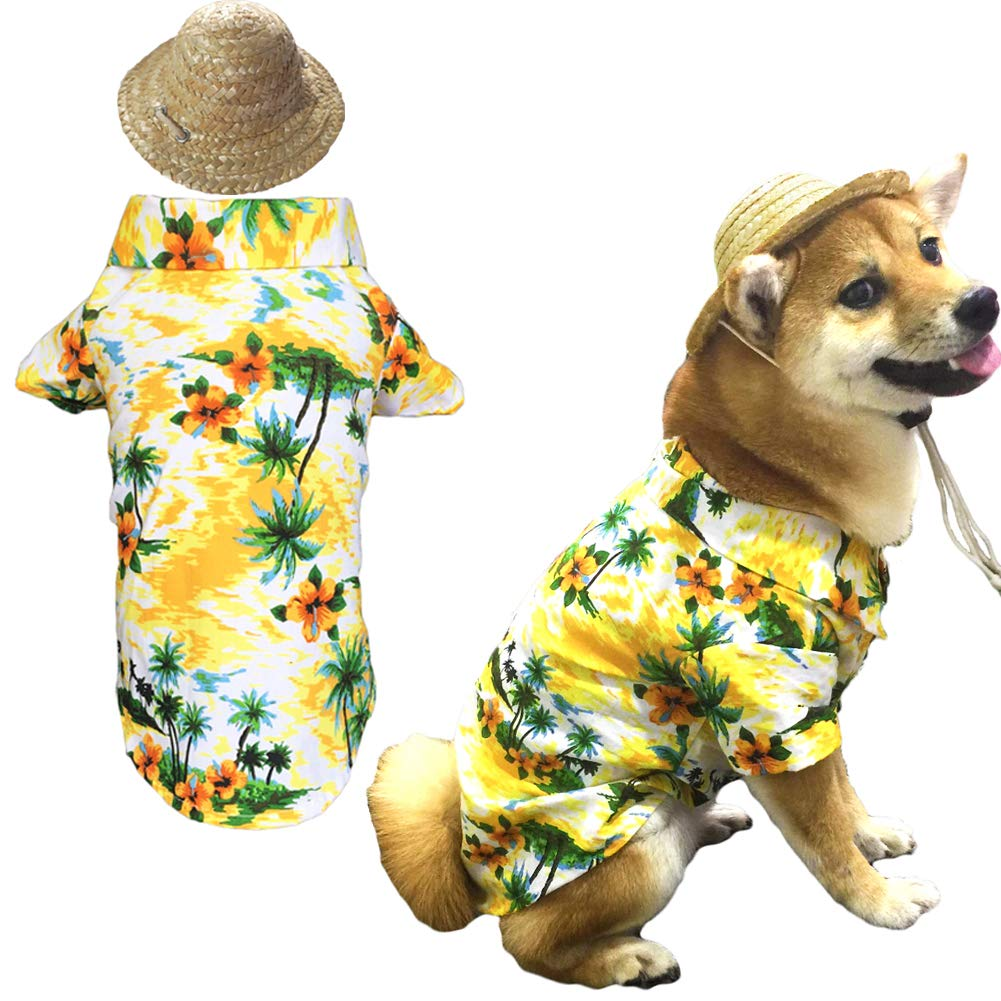 Hawaiian Pet Dog T-Shirt Summer Camp Clothes Apparel with Straw Hat for Small Medium Large Dog Puppies Cats