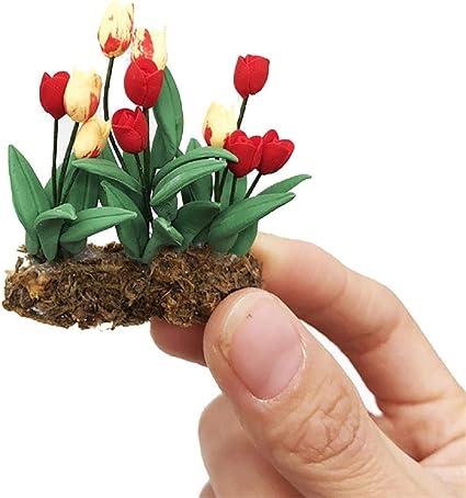 10 Mini Pink Ceramic Plants Pots Dollhouse Miniatures Supply Flower Garden