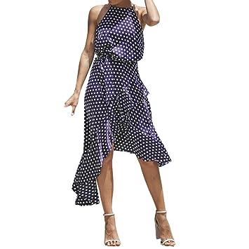 Igemy- Vestido Largo de Verano para Mujer, Diseño de Lunares Bohemios, para Fiesta