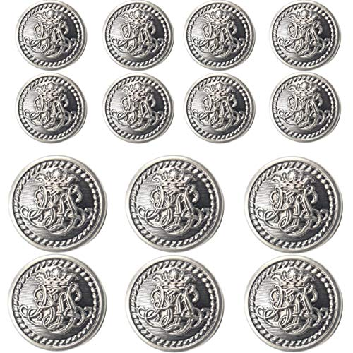 14 Piece (Bronze) Metal Blazer Button Set - King's Crowned, Vine Crest - for Blazer, Suits, Sport Coat, Uniform, Jacket (Antique Dark Silver)