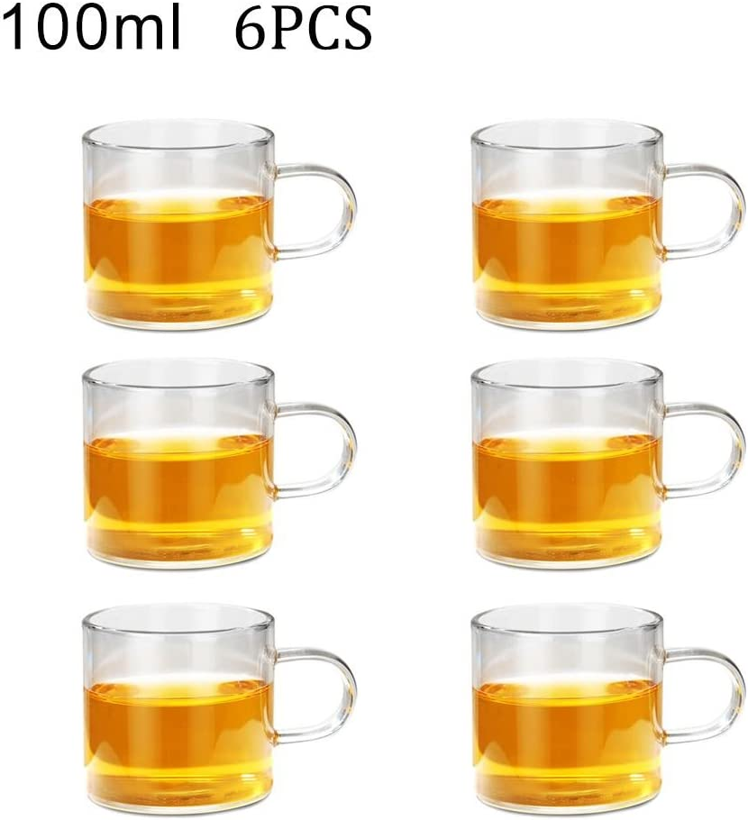 6 unidades transparente Juego de tazas de t/é con aislamiento de doble pared Rosaryrose