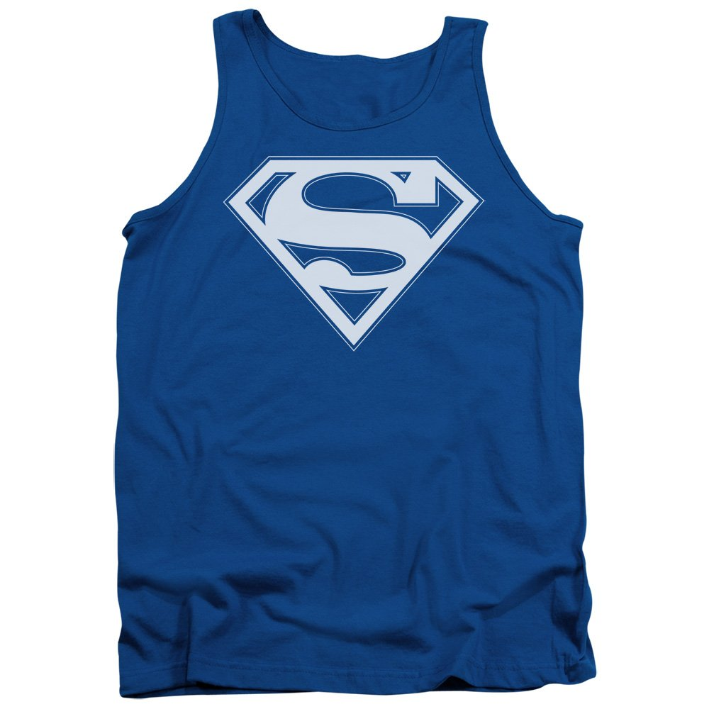 Superman DC Comics Blue & White Shield Adult Tank Top Shirt Trevco