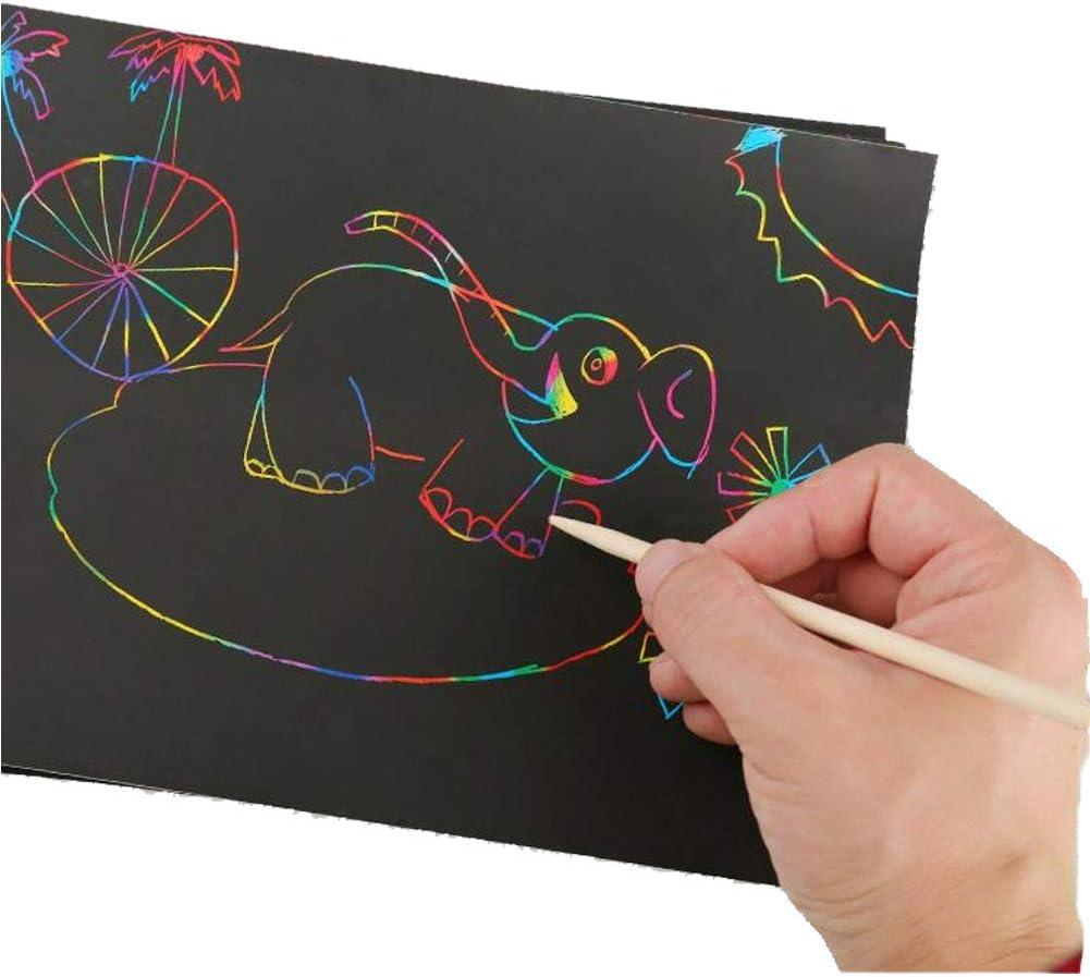 noir 8K Lot de 10 feuilles de papier /à dessin /à gratter Magic Scratch Art avec effet arc-en-ciel Noir 255 x 370 mm SpringPear/®