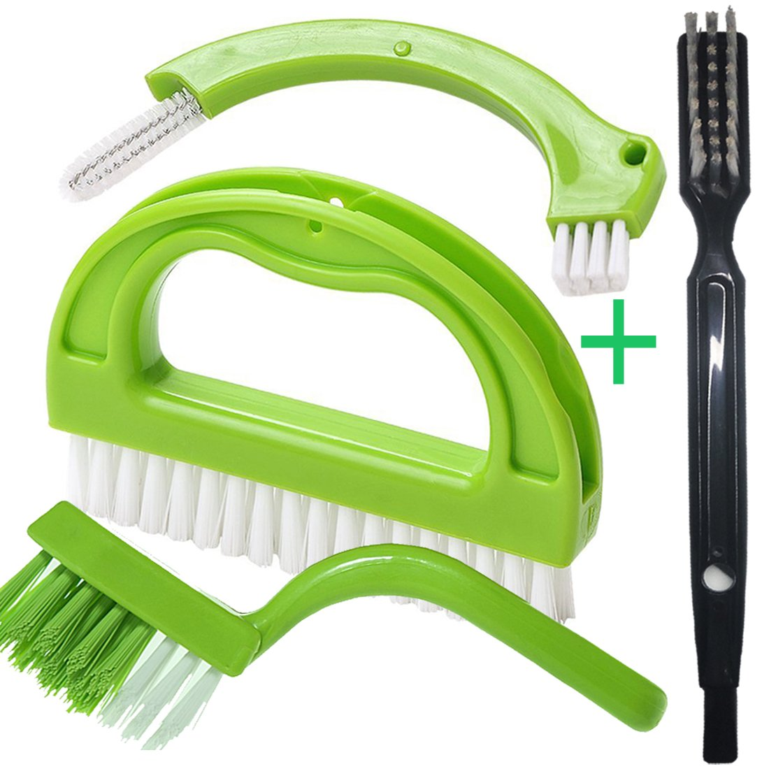 Enyoir Tile Joint Brush 4 in 1 Joint Scrubber Multifunction Kitchen Bathroom Cleaning Brush Grout Mould Cleaner Brush Green