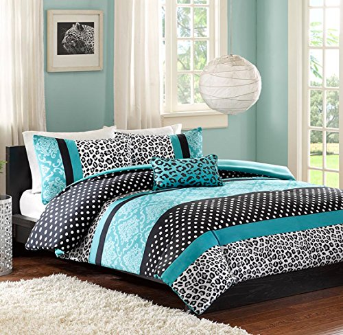 Teen Girls Bedding Damask Leopard Comforter Twin Twin Xl