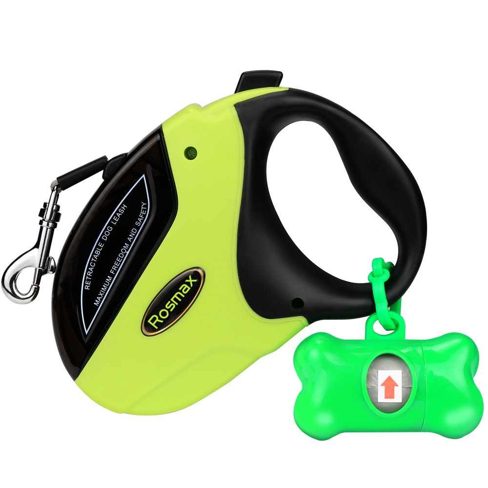 Rosmax Retractable Dog Leash - 16 Ft Dog Walking Leash For Medium Large Dogs Up to 110lbs - One Button Break and Lock - Heavy Duty & Tangle Free - Dog Waste Dispenser and Bags included