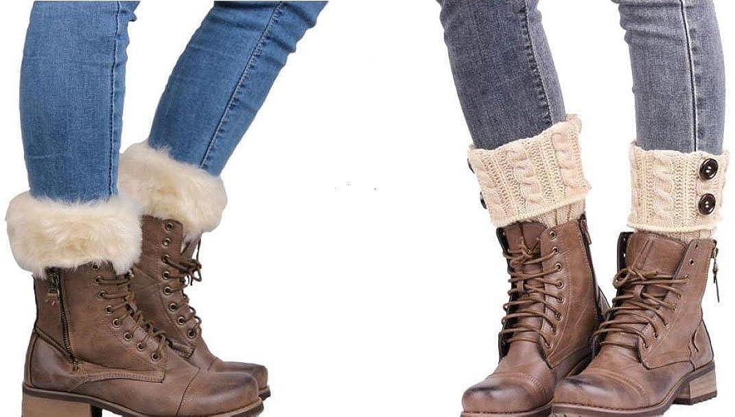 WODISON Pulsante scaldino a trecce Furry boot Polsini calzini per le donne (2 coppie)