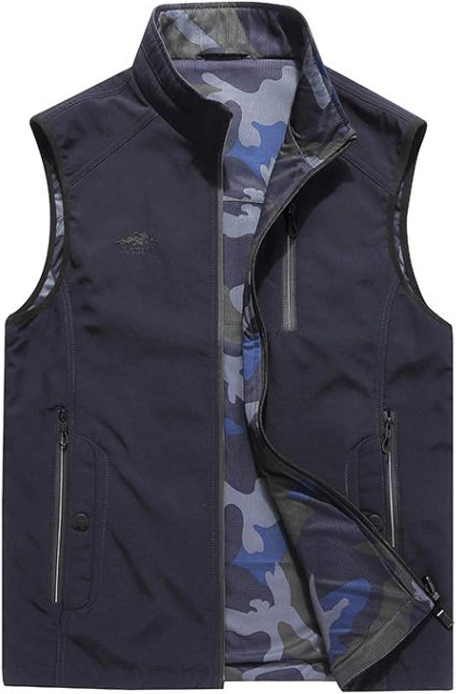 D.B.M Men's Lightweight 0utdoor Casual Cotton Multi-Pocket Double-Sided Vest