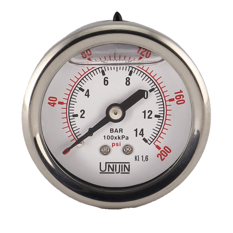 Back Mount /±1.6/% Accuracy 0-100 PSI//kPa Unijin P251 Series 2 Dial Oil Filled Pressure Gauge w//Brass Internals 1//4 NPT