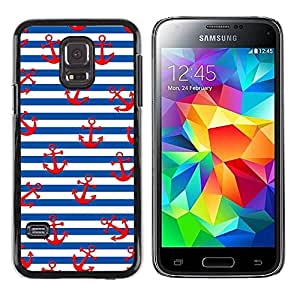rígido protector delgado Shell Prima Delgada Casa Carcasa Funda Case Bandera Cover Armor para Samsung Galaxy S5 Mini, SM-G800, NOT S5 REGULAR! /White Red Lines Sailor Anchor Sea/ STRONG