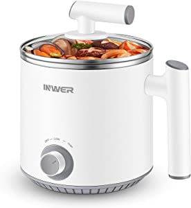 INWER Electric Hot Pot, 1.6L Rapid Shabu Shabu Hot Pot, Mini Stainless Steel Ramen Cooker with Temperature Control and Over-Heating Protection, Multifunctional Pot for Noodles, Egg, Soup, Oatmeal
