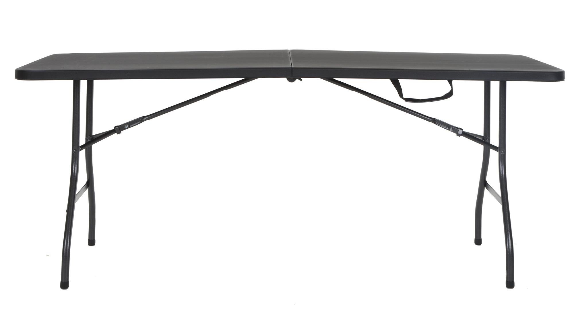 Cosco Deluxe 6 Foot X 30 Inch Fold In Half Blow Molded Folding Table, Black